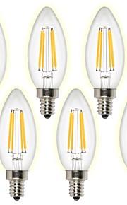 4W E14 LED필라멘트 전구 4 COB 400 lm 따뜻한 화이트 차가운 화이트 AC 220-240 V 6개