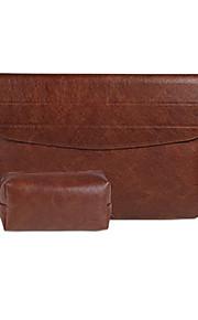 för macbook air pro 11,3 12 13,3 15,4 laptop väska ärmar PU läder fallet täcker med fäste stent med en nätdel