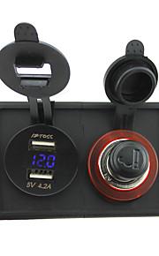 12V/24V cigarette lighter socket and 4.2A dual USB voltmeter adapter with housing holder panel for car boat truck RV