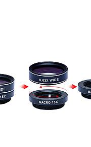 apexel 5 i en hd kameralinsen kit 198fisheye lens0.63x bred angle15x makro lens2x telefoto lenscpl linse til iPhone 7 6 / 6s 6 / 6s plus