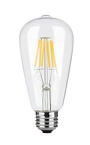 6W E26/E27 Lâmpadas de Filamento de LED ST64 6 COB 600 lm Branco Quente Regulável AC 110-130 V 1 pç