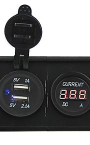 12V/24V 3.1A dual USB socket and led current meter with housing holder panel for car boat truck RV