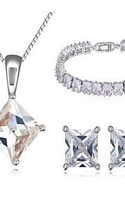 Jewelry 1 Necklace 1 Pair of Earrings 1 Bracelet AAA Cubic Zirconia Party Zircon 1set Women White Wedding Gifts