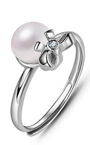 Ringe Imiteret Perle Daglig Afslappet Smykker Imiteret Perle Dame Ring 1 Stk.,En størrelse Sølv