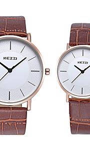 KEZZI Casal Relógio de Moda Relógio de Pulso Quartzo / imitação de diamante Couro Banda Legal Casual Preta Branco MarromBranco Preto