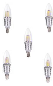 9W E14 LED 캔들 조명 C35 45 SMD 2835 850 lm 차가운 화이트 장식 AC 220-240 V 5개