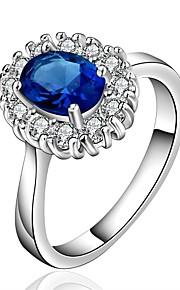 Ringe Kvadratisk Zirconium Daglig Afslappet Smykker Zirkonium Plastik Sølvbelagt Dame Ring 1 Stk.,7 8 Blå