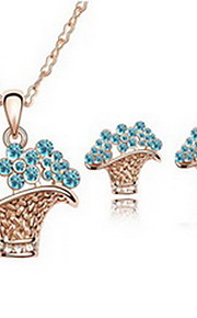 Jewelry 1 Necklace 1 Pair of Earrings Crystal Party Alloy 1set Women White Pool Regency Multi Color Wedding Gifts