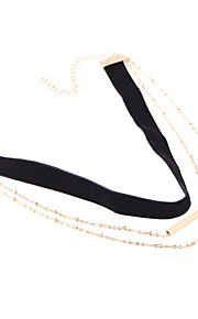 Necklace Non Stone Choker Necklaces Jewelry Daily Casual Others Euramerican Fashion Personalized Alloy Fabric 1pc Gift Black Yellow Gold