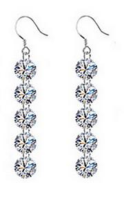 Kvadratisk Zirconium imiteret Opal Andre Stangøreringe Smykker Natur Daglig Sølv 1 par Sølv