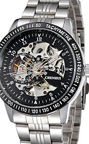 Masculino Relógio Esqueleto relógio mecânico Automático - da corda automáticamente Lega Banda Preta Prata marca
