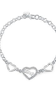Armbånd Charm-armbånd Sølvbelagt Hjerteformet Mode Smykker Gave Sølv,1 Stk.
