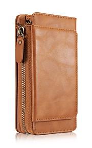 För Plånbok Korthållare fodral Heltäckande fodral Enfärgat Mjukt Äkta läder för AppleiPhone 7 Plus iPhone 7 iPhone 6s Plus iPhone 6 Plus