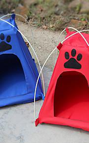 Katt Hund Tält Vikbar Tält Röd Blå Tyg