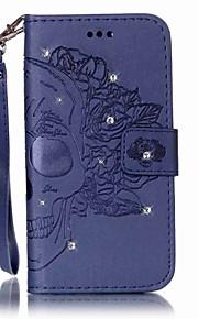 용 지갑 카드 홀더 크리스탈 플립 엠보싱 텍스쳐 케이스 풀 바디 케이스 해골 하드 인조 가죽 용 Samsung S7 edge S7 S6 edge S6 S5 Mini S5 S4 Mini S4 S3 Mini S3 S2
