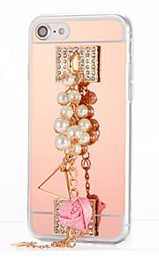För Strass Plätering Spegel GDS (Gör det själv) fodral Skal fodral Blomma Hårt Akrylfiber för AppleiPhone 7 Plus iPhone 7 iPhone 6s Plus