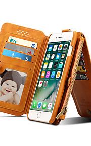 Para Cartera Soporte de Coche con Soporte Flip Funda Cuerpo Entero Funda Un Color Dura Cuero Auténtico para Apple iPhone 7 Plus iPhone 7