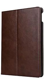 För Korthållare med stativ Automatiskt sömn-/uppvakningsläge Lucka fodral Heltäckande fodral Enfärgat Hårt PU-läder för AppleiPad (2017)