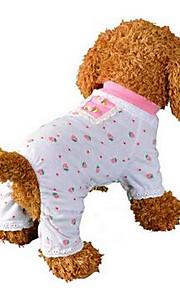 개 점프 수트 강아지 의류 여름 꽃장식 귀여운 캐쥬얼/데일리 핑크