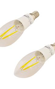 4W E14 LED-kaarslampen C37 4 COB 350 lm Warm wit V 2 stuks