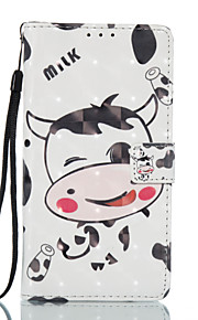 For Samsung Galaxy J3 J5 (2017) Case Cover Cartoon Cow Pattern Glare 3D Dimensional Glossy PU Material Stent Card Holster J3 J5 (2016) J7 (2017) J3