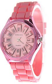 아가씨들 패션 시계 석영 실리콘 밴드 캐쥬얼 블랙 핑크 로즈 블랙 퓨샤 핑크