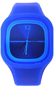 Mulheres Relógio de Moda Quartzo Silicone Banda Casual Preta Azul Amarelo Preto Amarelo Azul