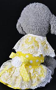 개 드레스 강아지 의류 여름 꽃장식 귀여운 캐쥬얼/데일리 옐로우