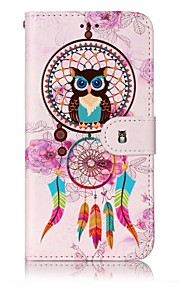 For LG G6 Case Cover Wind Chimes Owl Pattern Shine Relief PU Material Card Stent Wallet Phone Case