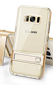 Для samsung galaxy s8 plus s8 крышка корпуса ударопрочная с подставкой прозрачная задняя крышка сплошной цвет жесткий тПУ s7