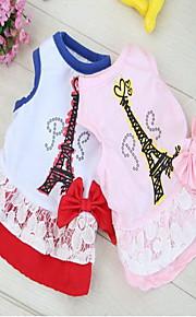 Cat Dog Shirt / T-Shirt Dog Clothes Summer Spring/Fall British Cute Casual/Daily Blushing Pink White