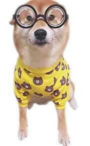 犬用品 Tシャツ 犬用ウェア 夏 フラワー キュート カジュアル/普段着 ファッション イエロー