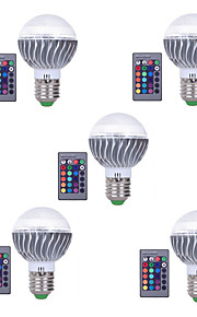 3W E27 LED-globepærer A60(A19) 1 Integrert LED 300 lm RGB Fjernstyrt Dekorativ Dimbar AC 85-265 V 5 stk.