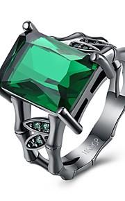 Ring Krystal Kvadratisk ZirconiumEnkelt design Unikt design Geometrisk Venskab Personaliseret Hip-hop Hypoallergenisk Dobbeltsidet Sød