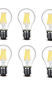 5.5W E27 LED-glødepærer A60(A19) 8 COB 700 lm Varm hvit Dekorativ AC220 AC230 AC240 V 6 stk.