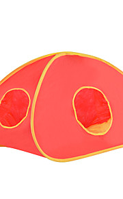 ネコ ベッド ペット用 バスケット 純色 折り畳み式 テント レッド