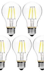 6W Lampadine LED a incandescenza A60(A19) 6 COB 450 lm Bianco caldo Bianco Oscurabile V 5 pezzi