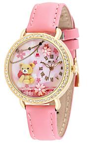 Жен. Модные часы Кварцевый Цифровой Защита от влаги Фосфоресцирующий PU Группа Коричневый Розовый