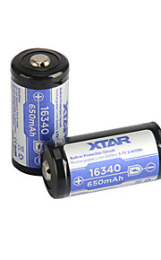 2pcs XTAR 16340 650mAh 3.6V 2.405wh batterie rechargeable au lithium-ion
