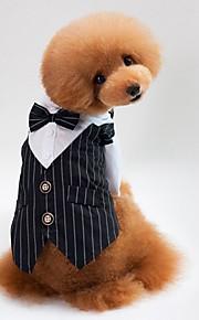 Gato Cachorro Casacos Moletom Smoking Gravata/Gravata Borboleta Roupas para Cães Festa Fantasias Casual Casamento Riscas Preto Azul