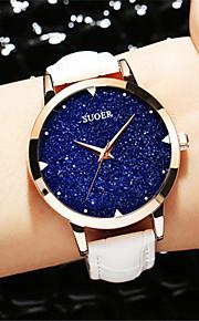 Mulheres Relógio de Moda Quartzo Couro Legitimo Banda Preta Branco Azul Vermelho Roxa