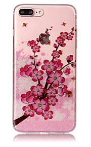 Case voor apple iphone 7 plus 7 telefoon hoesje tpu materiaal imd proces pruim bloesem patroon hd flash poeder telefoon hoesje 6s plus 6