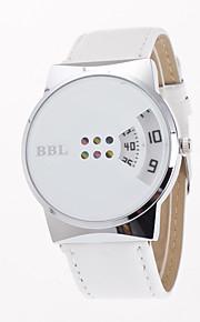 Dame Herre Modeur Unik Creative Watch Quartz Læder Bånd Afslappet Kreativ Sort Hvid