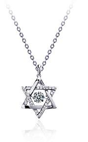 Dame Halskædevedhæng Imiteret Diamant Stjerneformet Sølvbelagt Geometrisk Smykker Til Fødselsdag Fest