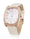 PU Leather Band Crystal Decorated Quartz Men Women Wrist Watch - White