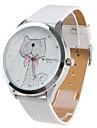 Women\'s Cartoon Cat Pattern White PU Band Quartz Analog Wrist Watch