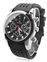 estilo de corrida mostrador preto faixa de relógio de pulso de quartzo silicone dos homens