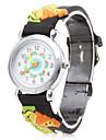 leão dos desenhos animados silicone analógico relógio de pulso de quartzo (preto)