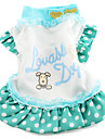 Dog Dress Green Dog Clothes Spring/Fall Letter & Number