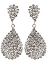 Water Drop Dangly Rhinestone Fully-Jewelled Earring